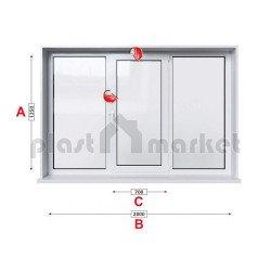 Кухненски прозорец троен Profilink Classic 4 - 60 мм със средно крило 205/135 см