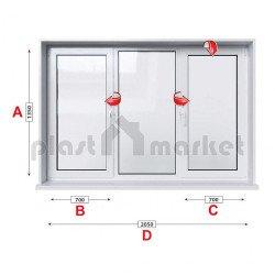 Кухненски прозорец троен Baufen Ultima 70 - 70 мм с две крила 205/135 см