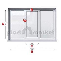 Кухненски прозорец троен Baufen Ultima 70 - 70 мм със средно крило 205/135 см