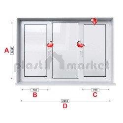 Кухненски прозорец троен KBE Eco 70 мм с две крила 205/135 см