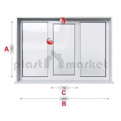 Кухненски прозорец троен KBE Eco 70 мм със средно крило 205/135 см