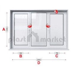 Кухненски прозорец троен KBE System 70 мм с две крила 205/135 см