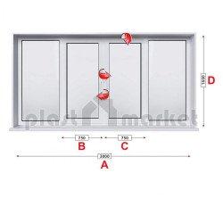Кухненски прозорец троен KBE System 70 мм със средно крило 300/160 см