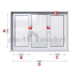 Кухненски прозорец троен Kommerling 76 mm с две крила 205/135см