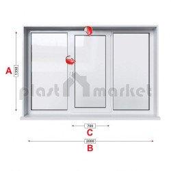 Кухненски прозорец троен Kommerling 76 мм със средно крило 205/135 см