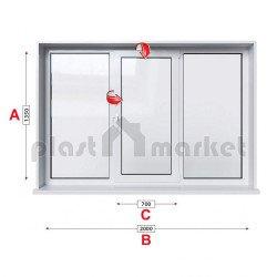 Кухненски прозорец троен Kommerling 88 Plus 88 мм със средно крило 205/135 см