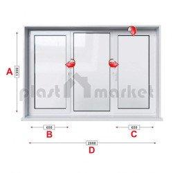 Кухненски прозорец троен Profilink Classic 4 - 60 мм с две крила 205/135 см
