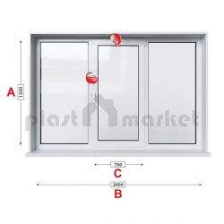 Кухненски прозорец троен Profilink Premium 5 - 70 мм със средно крило 200/135 см