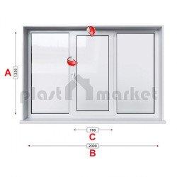 Кухненски прозорец троен Rehau Ecosol-Design 70 - 70 mm със средно крило 205/135см
