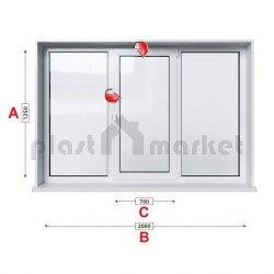 Кухненски прозорец троен Trocal Economy 70 mm със средно крило 205/135см