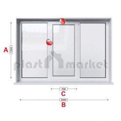 Кухненски прозорец троен Veka Softline 70 - 70 mm със средно крило 205/135см
