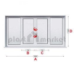 Прозорец за хол KMG Prestige 70 - 70 мм с две крила 300/150 см