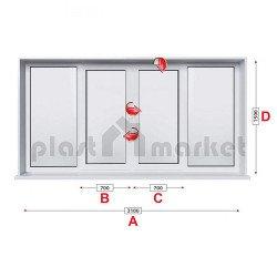 Прозорец за хол Profilink Premium 5 - 70 мм с две крила 310/150 см