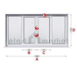 Прозорец за хол Aluplast Ideal 4000 - 70мм с две крила 300/160см