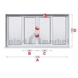 Прозорец за хол Profilink Classic 4 - 60 мм с две крила 310/150 см